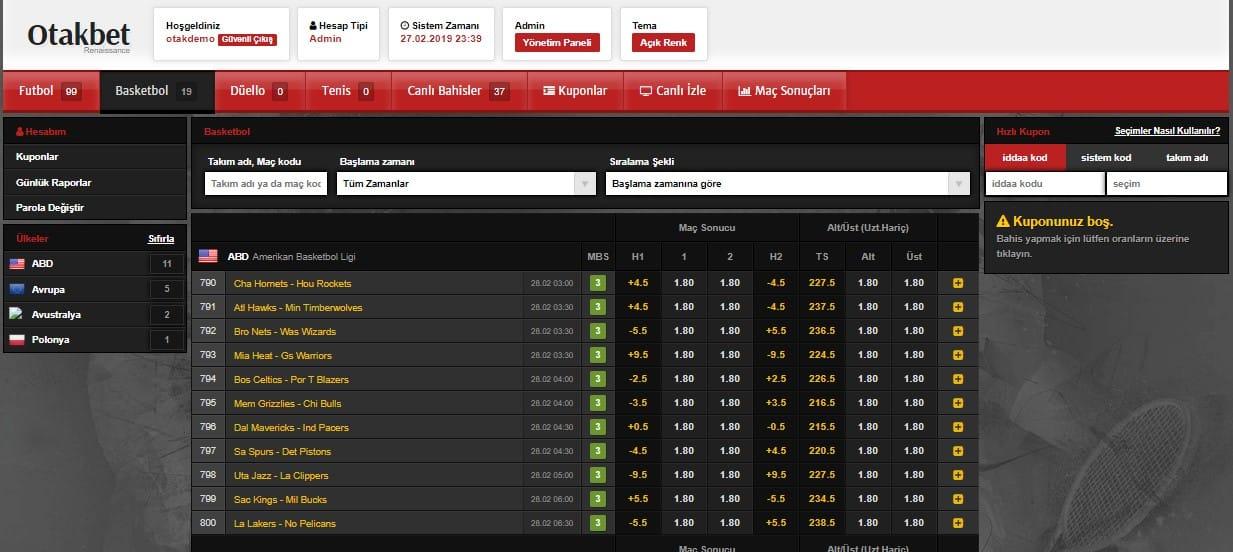 otakbet ve novelbet bahis sistemimizin basketbol sayfası demo görüntüsü.