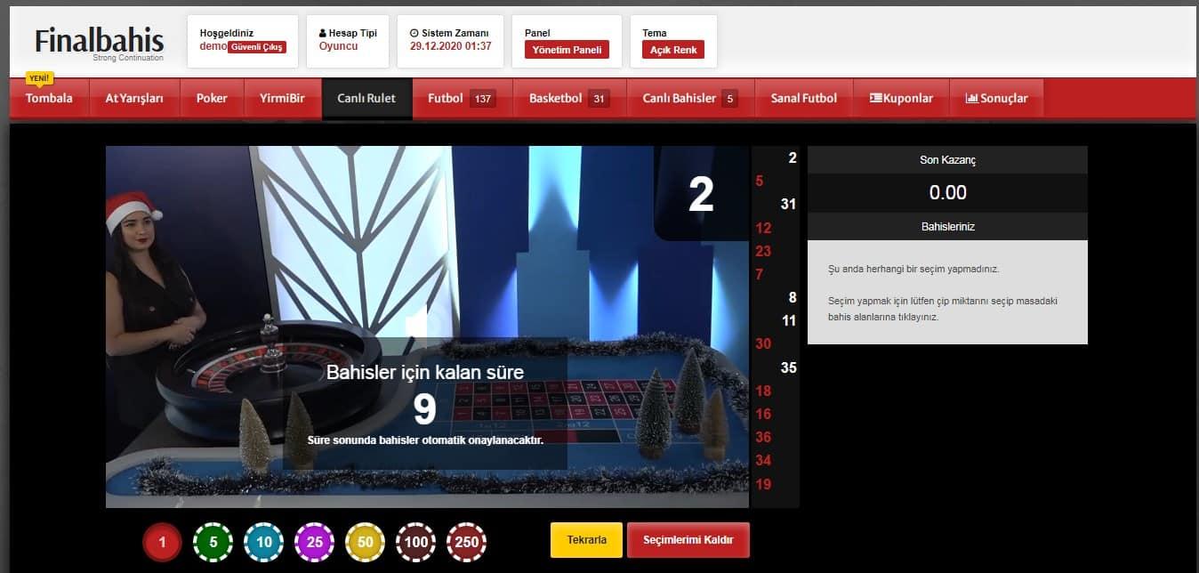 Finalbahis canlı rulet ekran görüntüsü