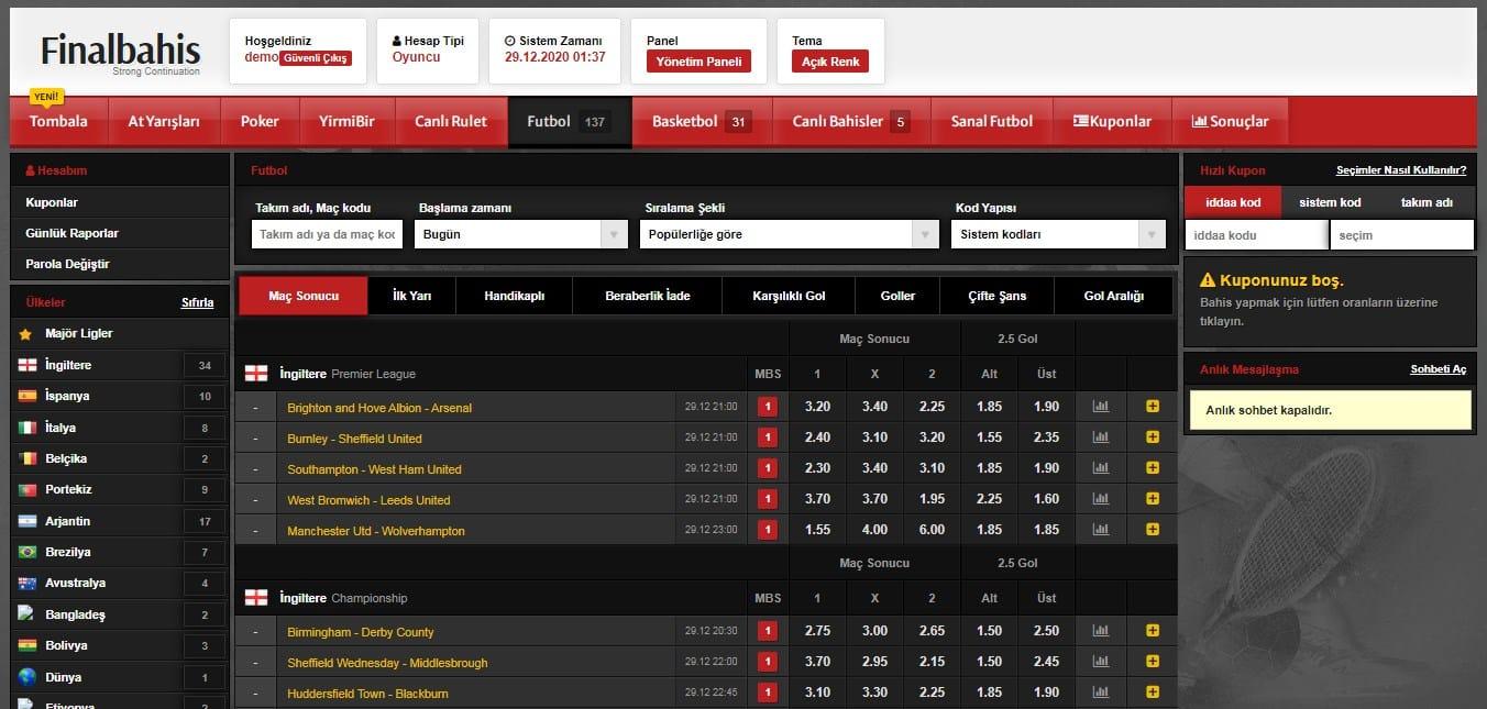 Finalbahis futbol ana sayfa demo ekran görüntüsü