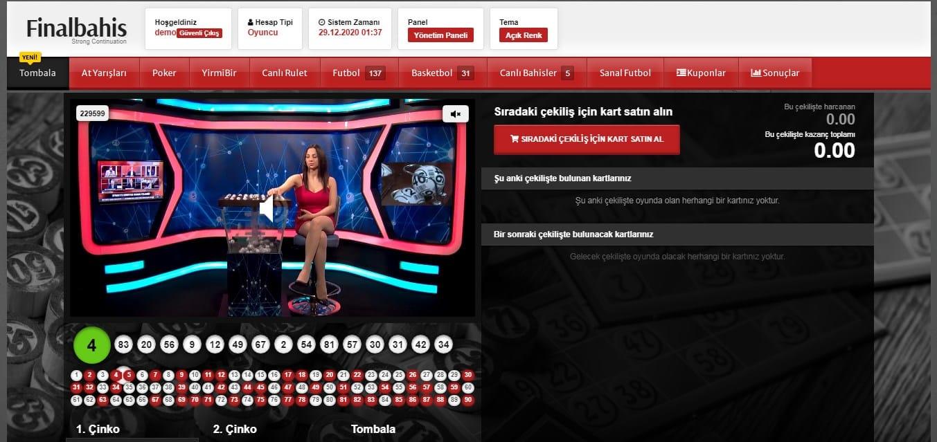 Finalbahis tombala sayfası demo ekran görüntüsü